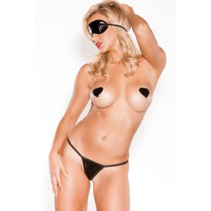 Wetlook Augenbinde, G-String & Brustwarzensticker - Schwarz