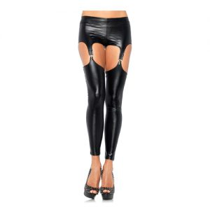 Leggings im Wetlook mit Strapsen