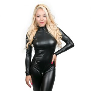 Noir Handmade – Catsuit in Schwarz im Wetlook